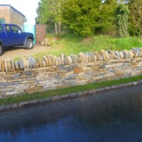 Finished frontage dry stone wall, Wicken