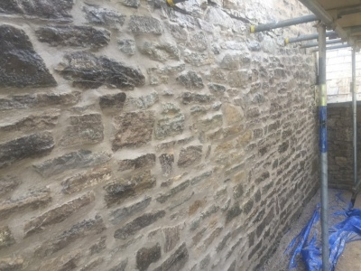 Purbeck stone wall repointing, Swanage
