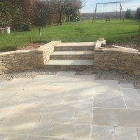 The finished walling and hard landscaping in Winchester.